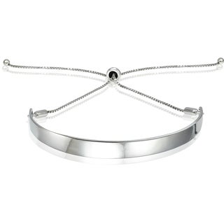 Mondevio Silver Pull-string Bar Adjustable Bolo Bracelet