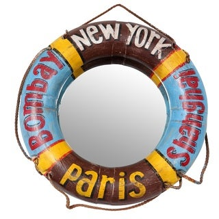 Porter Odessa Vintage Life Preserver Mirror Painted New York, Shanghai, Paris and Bombay (India)