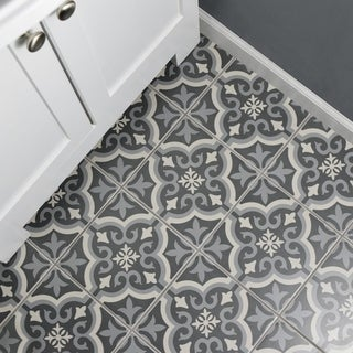 SomerTile Cavado Black Ceramic 7.75 X 7.75 Inch Floor And Wall Tile (Case Of