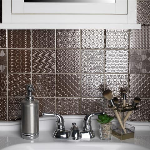 SomerTile 11.625x11.625-inch Vitality Copper Porcelain Mosaic Floor and Wall Tile (5 tiles/4.79 sqft.)