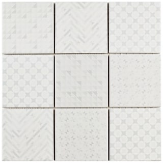 SomerTile 11.625x11.625-inch Geoshine White Porcelain Mosaic Floor and Wall Tile (5 tiles/4.79 sqft.) (As Is Item)