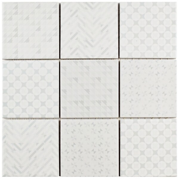 SomerTile 11.625x11.625-inch Geoshine White Porcelain Mosaic Floor and Wall Tile (5 tiles/4.79 sqft.) (As Is Item). Opens flyout.