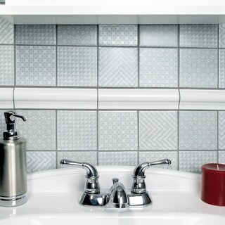 SomerTile 11.625x11.625-inch Geoshine Grey Porcelain Mosaic Floor and Wall Tile (Case of 5)