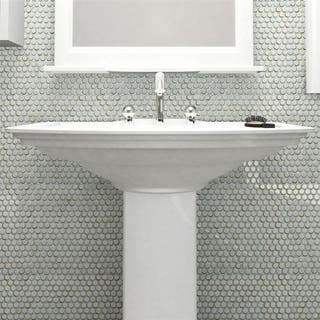 SomerTile 12x12.625-inch Penny Silk White Porcelain Mosaic Floor and Wall Tile (10 tiles/10.74 sqft.)
