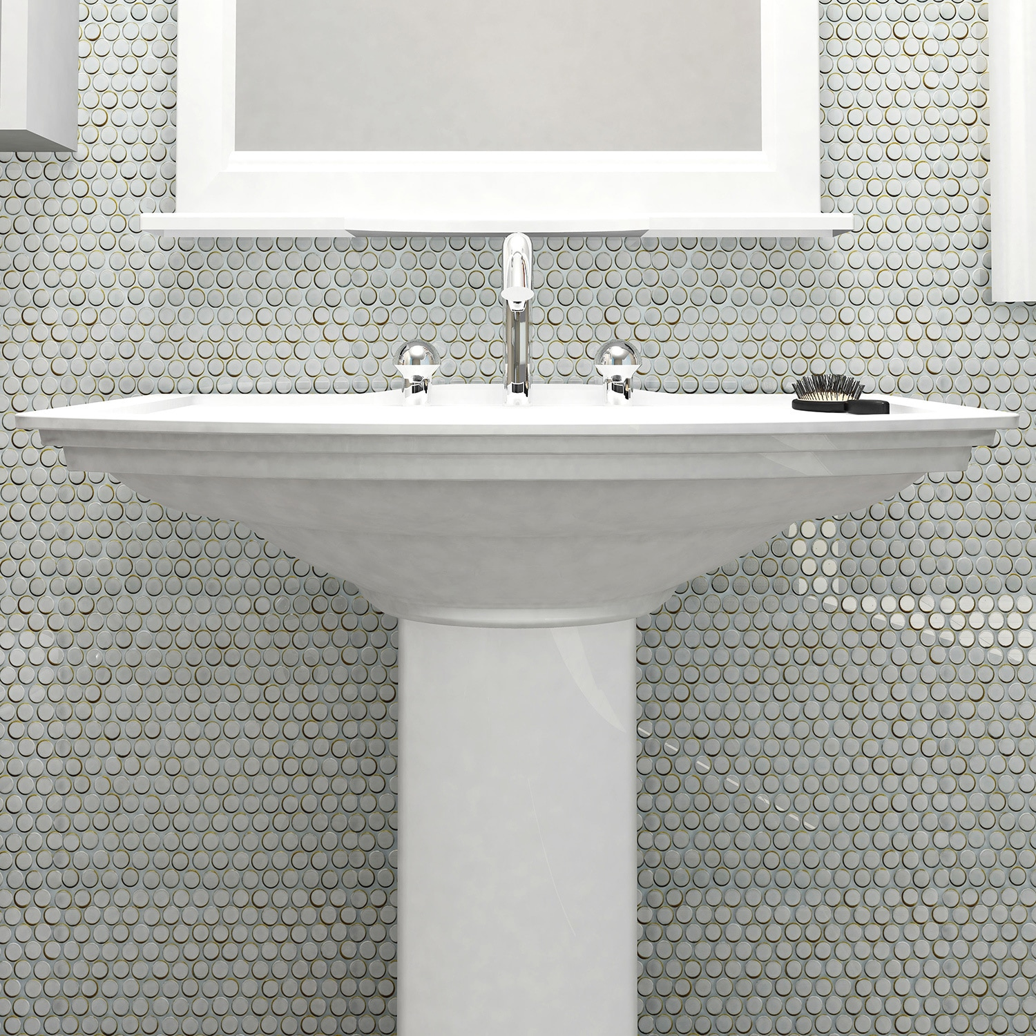 SomerTile 4x4.4-inch Penny Silk White Porcelain Mosaic Floor and Wall  Tile (4 tiles/4.4 sqft.)