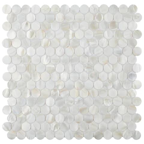 SomerTile 11.5x11.625-inch Seashell Mini Penny White Natural Seashell Mosaic Wall Tile (10 tiles/9.49 sqft.)