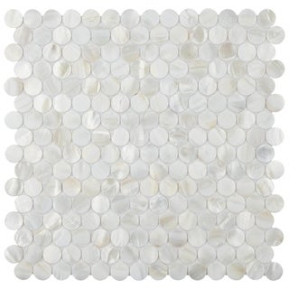 SomerTile 11.5x12.25-inch Seashell Mini Penny White Nautral Seashell Mosaic Wall Tile (Case of 10)