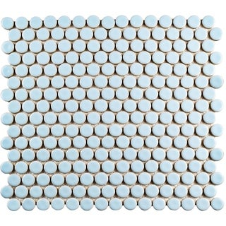 SomerTile 12x12.625-inch Penny Cashmere Blue Porcelain Mosaic Floor and Wall Tile (10 tiles/10.74 sqft.)