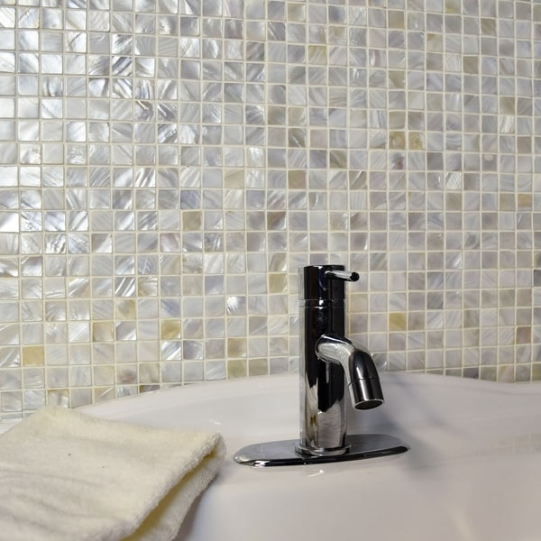 Somertile 12x12 Inch Seashell Square White Natural Mosaic Wall Tile 10 Tiles