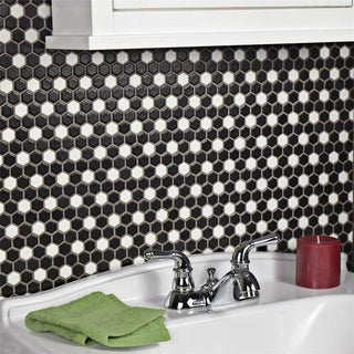 SomerTile 11.5x13.25-inch Victorian Mini Hex Matte Black with White Dot Porcelain Floor and Wall Til