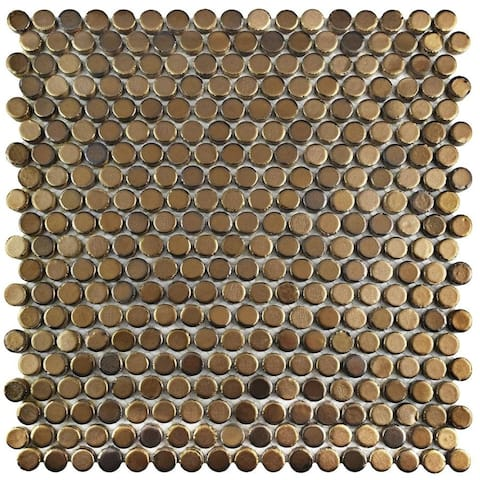 SomerTile 11.25x11.75-inch Asteroid Penny Round Gold Porcelain Mosaic Floor and Wall Tile (10 tiles/9.4 sqft.)