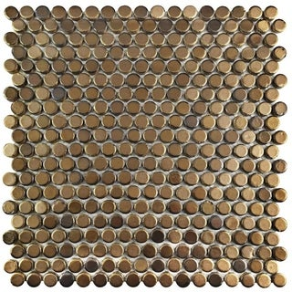 SomerTile 11.25 x 11.75-inch Asteroid Penny Round Gold Porcelain Mosaic Floor and Wall Tile (Pack of