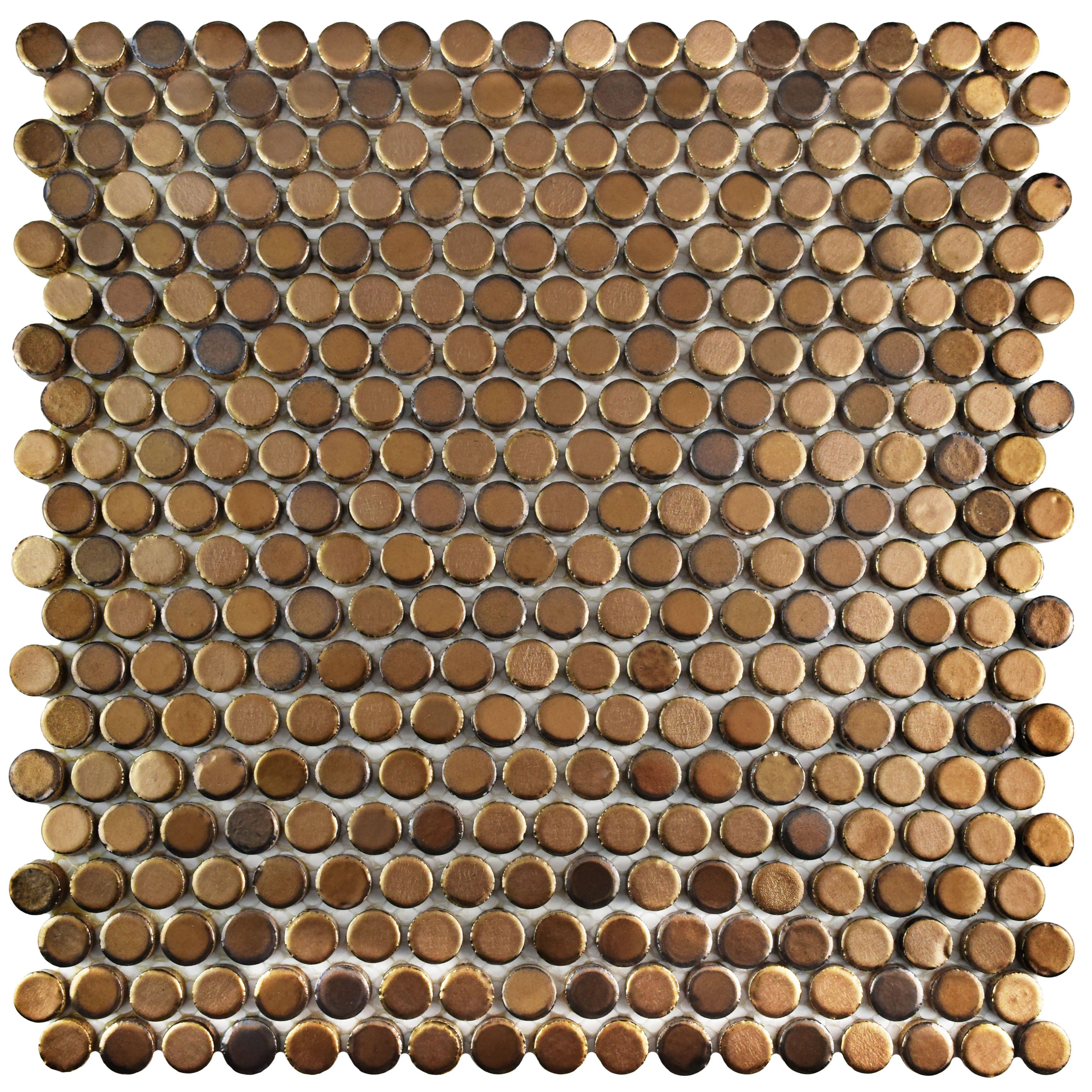 Shop Somertile 11 25x11 75 Inch Asteroid Penny Round Gold Porcelain Mosaic Floor And Wall Tile 10 Tiles 9 4 Sqft Overstock 11047677