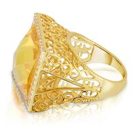 Collette Z Sterling Silver Yellow Cubic Zirconia Filigree Ring