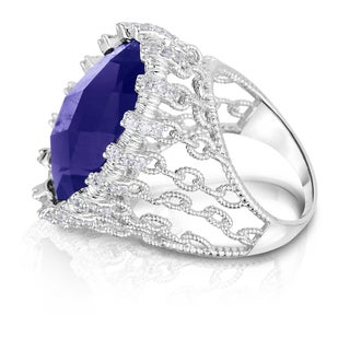 Collette Z Sterling Silver Cubic Zirconia Chain Link Ring - Blue