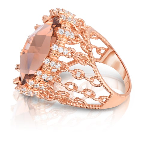 Collette Z Sterling Silver Rose Cubic Zirconia Chain Link Ring - Orange