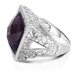 Collette Z Sterling Silver Purple Cubic Zirconia Filigree Ring