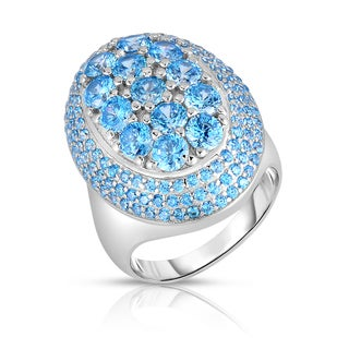Collette Z Sterling Rhodium Plated Light Blue Silver Cubic Zirconia Oval Ring