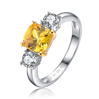 Collette Z Sterling Silver Yellow And White Cubic Zirconia Ring