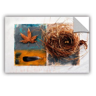 ArtAppealz Elena Ray 'Nest With Eggs, Feather, And Sycamore Leaf' Removable Wall Art