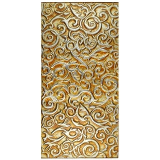 SomerTile 11.75x23.75-inch Firenze Embossed Panorama Champagne Glass Wall Tile