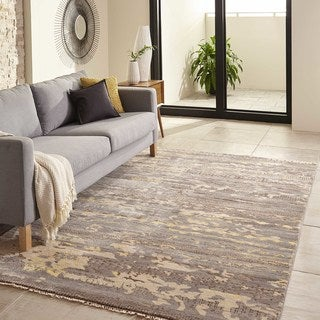 """Terrene Hand-Knotted Grey Abstract Rug (3'6"""" x 5'6"""")"""