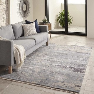Momeni Terra Blue Hand-Knotted Wool and Viscose Rug (5' X 8')