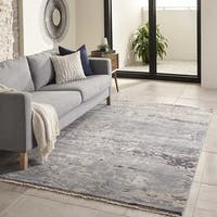 Momeni Terra Blue Hand-Knotted Wool and Viscose Rug - 5' x 8'
