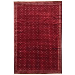 Herat Oriental Pakistani Hand-knotted Prince Bokhara Red/ Ivory Wool Rug (6'7 x 10')