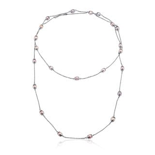 Collette Z Sterling Silver Clear Cubic Zirconia Short and Long Two Strand Necklace