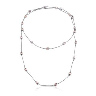 Collette Z Sterling Silver Clear Cubic Zirconia Short and Long Two Strand Necklace - White