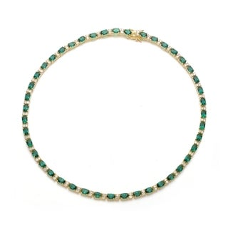 Collette Z Gold Overlay Clear and Green Cubic Zirconia Necklace