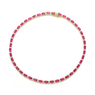 Collette Z Gold Overlay Clear and Red Cubic Zirconia Necklace