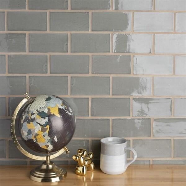 Somertile 3x6 Inch Gloucester Grey Ceramic Wall Tile 16 Tiles 2 Sqft