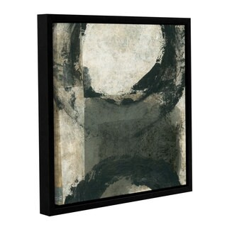 ArtWall Elena Ray 'Abstract Gray With Black Circles' Gallery-wrapped Floater-framed Canvas