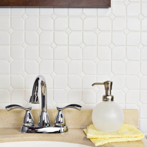 SomerTile 11.75x11.75-inch Victorian Broadway Matte White Porcelain Mosaic Floor and Wall Tile (10 tiles/9.79 sqft.)