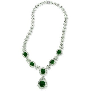 Collette Z Sterling Silver Clear and Green Cubic Zirconia Dangle Necklace