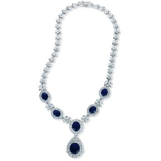 Collette Z Sterling Silver Clear and Deep Blue Cubic Zirconia Dangle Necklace
