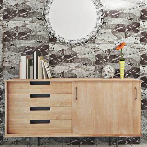 SomerTile 11.75x23.75-inch Fossilis Panorama Gingko Silver Glass Wall Tile