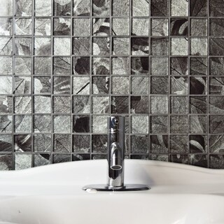 SomerTile 11.75x11.75-inch Fossilis Quad Gingko Silver Glass Mosaic Wall Tile (Case of 5)