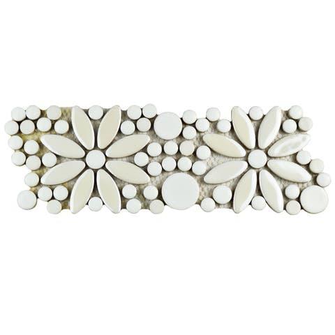 SomerTile 4.25x12.75-inch Andromeda Penny Flower White Porcelain Mosaic Border Floor and Wall Tile (10 tiles/3.8 sqft)