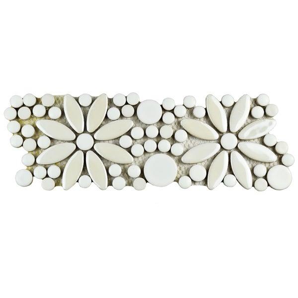 SomerTile 4.25x12.75-inch Andromeda Penny Flower White Porcelain Mosaic Border Floor and Wall Tile (