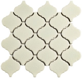 SomerTile 9.75x10.25-inch Victorian Morocco Crackle White Ceramic Mosaic Floor and Wall Tile (Case o