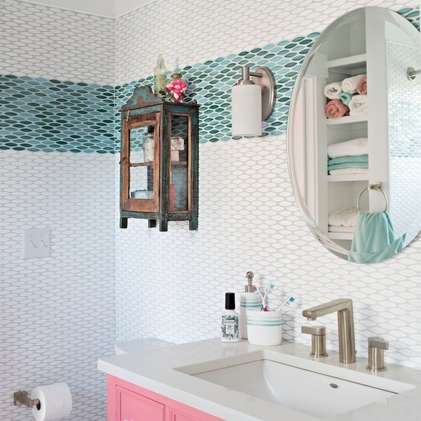 SomerTile 12x12.5-inch Pisces Glossy Agua Ceramic Mosaic Floor and Wall Tile (5 tiles/5.31 sqft.). Opens flyout.