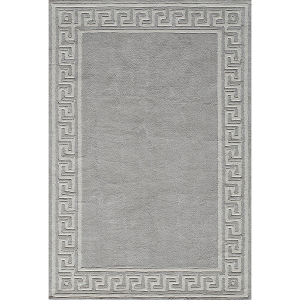 Momeni Bliss Grey Olympus Border Hand-Tufted Rug (2' X 3')