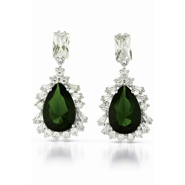 Collette Z Sterling Silver Clear and Deep Green Cubic Zirconia Drop Earrings