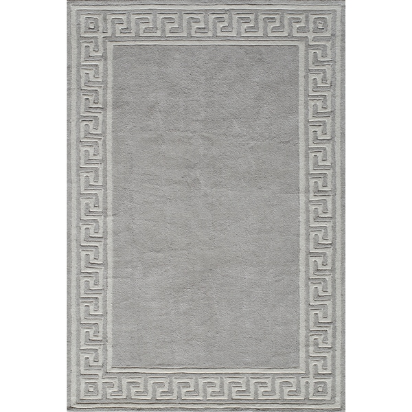 Momeni Bliss Grey Olympus Border Hand-Tufted Rug (8' X 10') - 8' x 10'