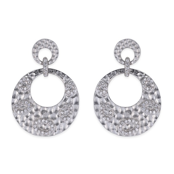 Collette Z Hammered Rhodium Overly Cubic Zirconia Dangle Earrings