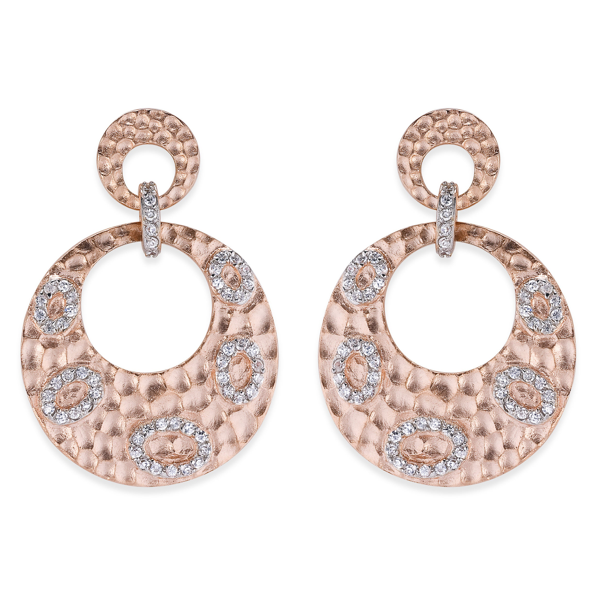 Collette Z Hammered Rose Gold Overly Cubic Zirconia Dangl...