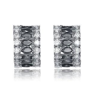 Collette Z Sterling Silver Clear and Black Cubic Zirconia Stripe Earrings
